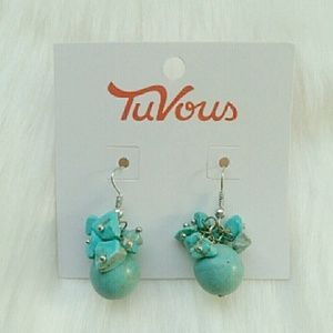 NWT SILVER & TURQUOISE BEADED ROCK CLUSTER EARRING
